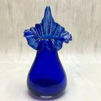 Cobalt Blue Glass Jack in the Pulpit Vase Ruffled Edge White Ribbon  Bulb Shape