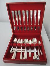 42 pc Wm Rogers IS Art Deco Revelation 1 1938 Silverplate Red Mahogany Case