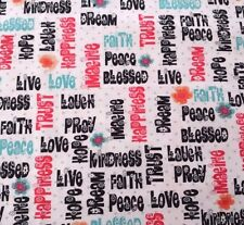 Love Hope Pray Denise Urban Quilting Treasures BTY Words Flowers Dots on White