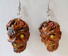 Walking Dead-like Zombie Planet  ROTTING RONNIE Dangle Earrings Horror Heads