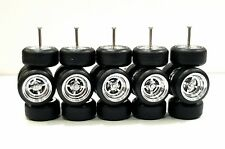 5 sets 4 Spoke Chrome 4SP Donuts long axle fit 1:64 hot wheels rubber tires 2018