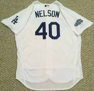 NELSON size 50 #40 2020 Los Angeles Dodgers home jersey used ALL STAR PATCH MLB