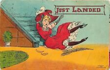 """Comic """"Just Landed""""~Victorian Lady At Bottom of Stairs~1908 Hasselman"""