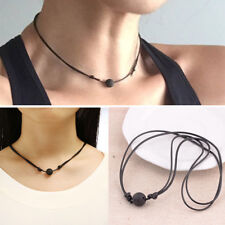 Natural Simple Black Lava Rock Stone Pendent Lava Bead Diffuser Choker Necklace