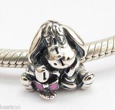 EEYORE DONKEY w BOW POOH CHARM Bead Sterling Silver.925 4 European Bracelets 904