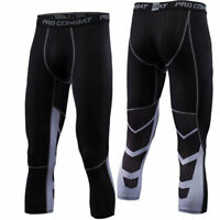 Mens Sports 3/4 Pants Compression Workout Fitness Gym Cropped Tights Breathable