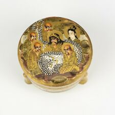 Antique Satsuma Pottery - Hand Painted Oriental Immortal Faces Covered Bowl