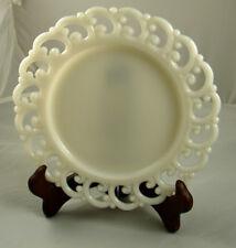 "Milk Glass Open Edged Lace Decorative Plate 8.5"""