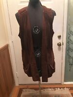 Rock + Country  Women Brown Suede Open Front Cowgirl Vest Size M  Fringe