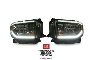 NEW OEM TOYOTA TUNDRA 2018-2021 TRD PRO BLACK CHROME LED FRONT HEADLIGHTS 2PC