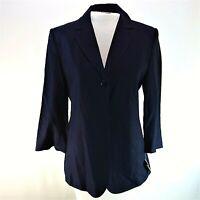 New TALBOTS Navy Blue 4 Blazer Jacket 1 Button Linen Blend 3/4 Sleeves Pockets