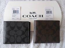 Coach #75083 Signiture Double Billfold Wallet Mens - Black & Mahogany - NWT $150