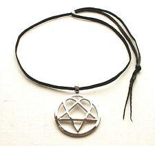 Heartagram Gothic HIM Metal Pewter Pendant Necklace Choker Black Cord ADJUSTABLE