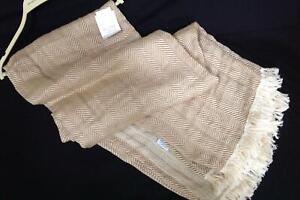Allma Casa Portugal cotton ivory tan herringbone throw blanket oversized 60 x 80
