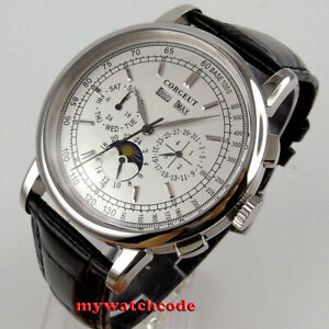 42mm corgeut white dial Moon Phase multifunction Sea-gull automatic mens watch
