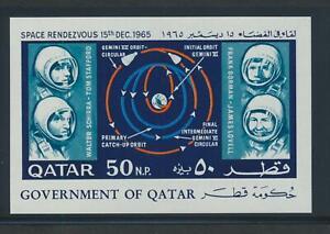 Qatar 104B 1966 Gemini Space Rendezvous Map Astronauts souvenir sheet VF NH