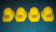 lot of 4 BOB the BUILDER yellow construction hard hats KIDS plastic BIRTHDAY