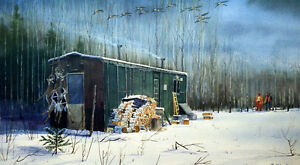 Les Kouba Boxcar Bush and Deer Hunting Print Signed and Numbered 20 x 12