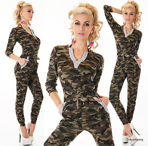 Women's Camouflage Jumpsuit V-Neck Army Catsuit Chino Skinny Trousers 8,10,12