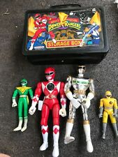 Vintage Power Rangers lot Red Silver Yellow Green Bend-em storage box lot