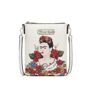 FL408 AUTHENTIC FRIDA KAHLO FLORAL BOUNTY SIMPLE CROSSBODY~BEIGE