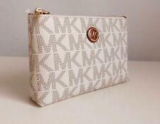 MICHAEL KORS Kosmetiktasche MK FULTON Logo Tasche Travel Case Weiß Vanilla NEU!