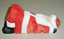 CARVED WOOD CHRISTMAS SANTA CLAUS RESTING SIGNED FOLK ART CARVING