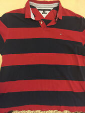 Tommy Hilfiger 2XL Color Block Red + Navy Flag Logo Polo Classic Fit