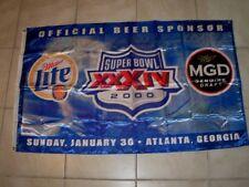 New listing Miller Lite Mgd Football Nfl 59 x 35 Banner Flag 1999 Super Bowl Xxxiv Atlanta