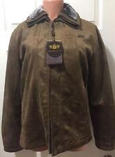 NEW! Emporio & Co. Women's Brown Suede Leather Jacket Size Medium Made In Italy