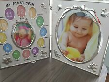 Shudehill Giftware My First Year Satin Silver Double Baby Photo Frame