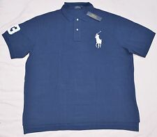 New 4XB 4XL BIG 4X POLO RALPH LAUREN Men's Big Pony shirt top Navy blue solid