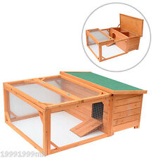 """Pawhut 49.2"""" Wood Chicken Coop Wooden Rabbit Hutch Poultry House with Run"""