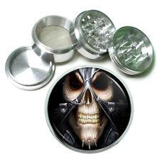 """Skeletons D6 Aluminum Herb Grinder 2.5"""" 63mm 4 Piece Death Skulls"""