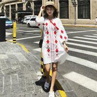 Women Cotton Linen Embroidered Floral Tassel Tie Mini Shirt Dress Loose Long Top