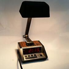 Vintage Spartus Desk Lamp Light Digital Alarm Clock Faux Wood MCM Tested Working
