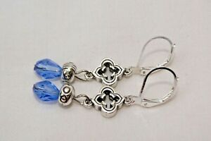 Altered Brighton Toledo Silver Charm & Blue Tear Drop Crystal Lever Back Earring
