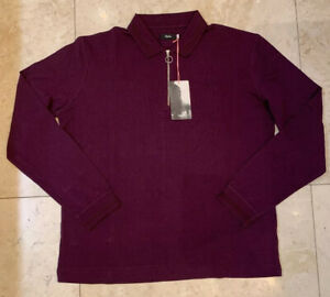 Rapha Long Sleeve Zip Polo Plum Size Large Brand New With Tag