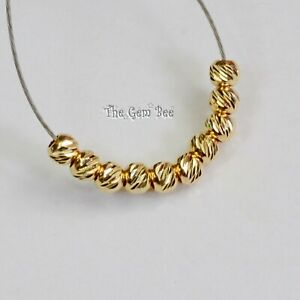 2.25MM 14k Solid Yellow Gold Petite Diamond Cut Beads (10)