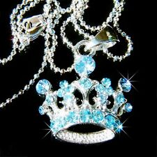 Blue w Swarovski Crystal Bridal Fairy Queen ~~Wish CROWN~ charm Pendant Necklace