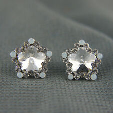 18k white Gold GF Austrian Swarovski elements stud crystals earrings