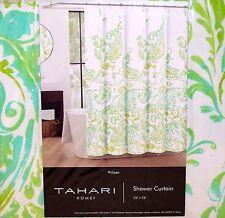 "NEW Sealed TAHARI Home PHILIPPA SHOWER CURTAIN White & Green 72"" x 72"" Washable"