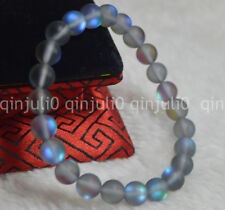 8mm Natural Gray Gleamy Rainbow Moonstone Round Gems Beads Bracelets J3231