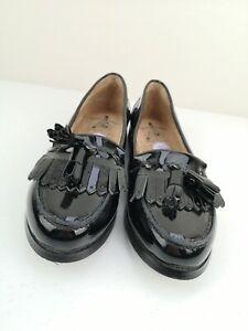 JASPER JAMES Ladies Women Blaxk Leather Court Shoe Brogue Flat Pump Size 6 39