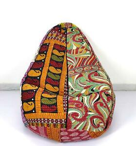 Vintage Kantha Quilt Cotton Decorative Bohemian Bean Bag Slipcover Ottoman