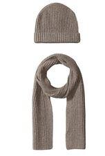 100% Cashmere Wool Scarf Beanie Watch Cap Knit Hat Brown Fleck $300