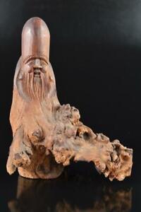L1557: Japanese Old Wooden DOLL Statue Ornament Figurines Okimono Buddhist art