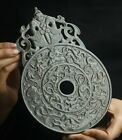 Old natural hetian jade hand-carved statue king dragon and phoenix plate Bi 23cm