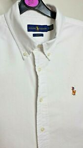 POLO BY RALPH LAUREN MENS SHIRT WHITE LARGE SLIM FIT LONG SLEEVE