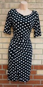 NEXT BLACK WHITE POLKA DOT SPOTTED RUCHED SIDE WRAP BODYCON PENCIL DRESS 12 M
